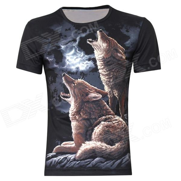 British Style 3D Moonlit Night Double Wolfs Pattern T-Shirt for Men - Black (XXL)