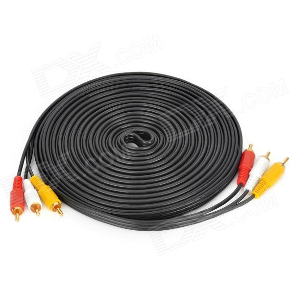 Gold-Plated 3 RCA Male to Male AV Connection Cable - Black + Red + Yellow + White (8.9m) 3 5mm male to male audio connection nylon cable white red black 1m