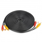 Gold-Plated 3 RCA Male to Male AV Connection Cable - Black + Red + Yellow + White (8.9m)
