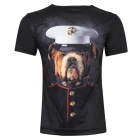 LaoNongZhuang British Style 3D Dressing Dog Pattern T-Shirt for Men - Black (M)