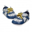 Fashion PU Leather Shoes for 9~12 Months Male Baby - Blue + Yellow + Grey