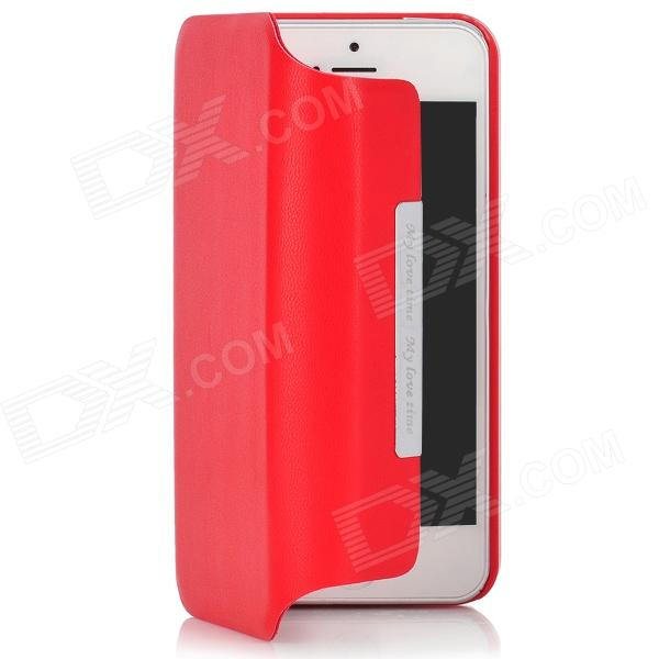 Stylish Protective 360 Degree Rotating PU Leather Case for Iphone 5 - Red momax x lens 4 in 1 120 degree wide angle 15x macro lens 180 degree fisheye cpl filter for smartphone tablet silver
