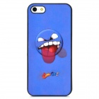 Vivid 3D Funny Stick Out Tongue Face Style Protective PVC Back Case for iPhone 5 - Blue + Red