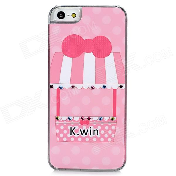 Cute Cartoon Shop Style Protective Plastic Back Case for Iphone 5 - Pink cute girl pattern protective rhinestone decoration back case for iphone 5 light pink light blue