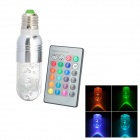 Hot Dog Style E27 3W 270lm 620nm 1-LED RGB Light Lamp w/ Remote Controller - Silver + White