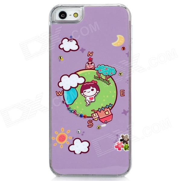 Cute Cartoon Earth Style Protective Plastic Back Case for Iphone 5 - Light Purple cute girl pattern protective rhinestone decoration back case for iphone 5 light pink light blue