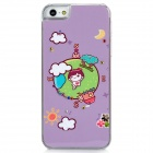 Cute Cartoon Earth Style Protective Plastic Back Case for Iphone 5 - Light Purple