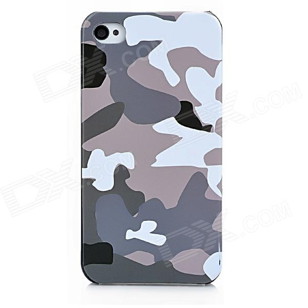 Camouflage Style Protective Plastic Back Case for Iphone 4S / Iphone 4 - Green + Grey + White stylish bubble pattern protective silicone abs back case front frame case for iphone 4 4s