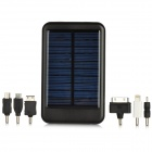 Portable Solar Power 5000mAh Mobile Battery Charger w/ US Plug Charger for iPhone + More - Black