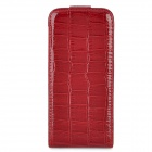 Protective Crocodile Pattern Flip-Open PU Leather Case for Iphone 5 - Dark Red