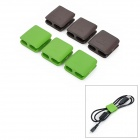 E04-3-006 Silicone Square Scattered Wires Organizer - Green + Chocolate