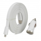 Car Charger + USB Data / Charging 8-Pin Lightning Flat Cable for iPhone 5 / iPad 4 - White (3M)