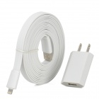 AC Charger + USB Data / Charging 8-Pin Lightning Flat Cable for iPhone 5 - White (US Plug / 3M)