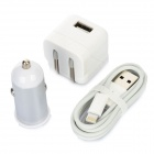 AC/Car Charger + USB to 8-Pin Lightning Data/Charging Cable Set for iPhone 5 / iPod Touch 5 - White