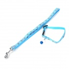 JCLC-219-3 Cake Pattern Pet Dog Cat PP Neck Belt Collar Strap w/ Leash - Blue
