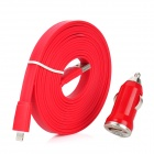 Car Charger + USB Data / Charging 8-Pin Lightning Flat Cable for iPhone 5 / iPad 4 - Red (3M)