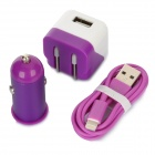 AC/Car Charger + USB to 8-Pin Lightning Data/Charging Cable Set for iPhone 5 / iPod Touch 5 - Purple