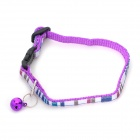 Grid Pattern Pet Dog Cat PP Neck Belt Collar w/ Buckle - Purple + White