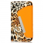 Stylish Leopard Pattern Protective PU Leather Case w/ Card Slots for Iphone 4 / 4S - Multicolored