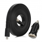 Car Charger + Flat Lightning 8-Pin Male to USB 2.0 Male Cable for iPhone 5 - Black (DC 12~24V)