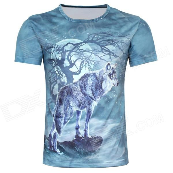 British Style Old Tree and Single Wolf Pattern T-shirt for Men (M)