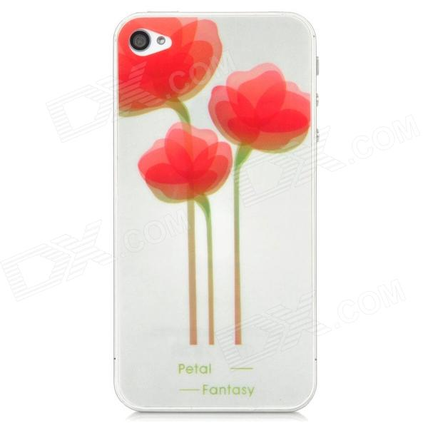 22010116 Three Flowers Pattern Protective PET Screen + Back Protectors for Iphone 4 / 4S