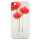 Three Flowers Pattern Protective PET Screen + Back Protectors for Iphone 4 / 4S