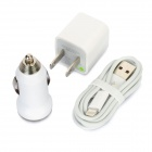 US Plug AC Power Charger Adapter + Car Charger + Lightning 8-Pin Male Cable for iPhone 5 - White
