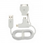 USB to 30-Pin Port + 8-Pin Lightning + Micro USB Data/Charging Cable for iPhone / Samsung - White