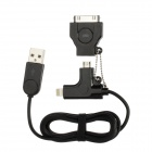 USB to 30-Pin Port + 8-Pin Lightning + Micro USB Data/Charging Cable for iPhone / Samsung - Black