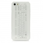 3D Keyboard Style Protective Silicone Back Case for Iphone 5 - White
