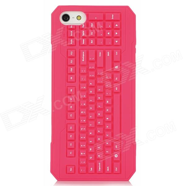 3D Keyboard Style Protective Silicone Back Case for Iphone 5 - Deep Pink cartoon pattern matte protective abs back case for iphone 4 4s deep pink