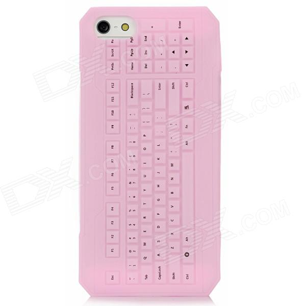 где купить 3D Keyboard Style Protective Silicone Back Case for Iphone 5 - Pink дешево