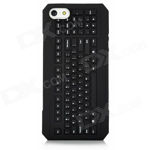 3D Keyboard Style Protective Silicone Back Case for Iphone 5 - Black
