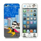 Gangnam Style Pattern PET Screen + Back Protector Set for iPhone 5 - Blue + Yellow + Black + Red