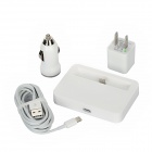 Charging Dock + USB Car Charger + EU Plug Power Adapter + 8pin Lightning to USB Male Cable - White