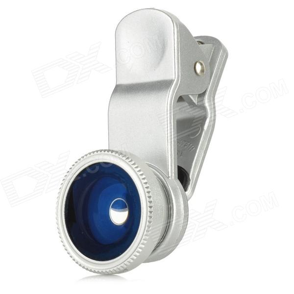 NO-5 Universal Clip-On Wide Angle Fish Eye Lens + Macro Lens for Iphone 4 / 4S / 5 / Ipad - Silver