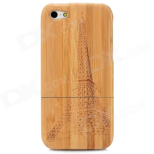 Eiffel Tower Pattern Protective Bamboo Back Case for Iphone 5 - Brown nikula 8x42 high definition waterproof binoculars telescope bak4 prism multilayer broadband coating glass m7078