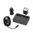 4-in-1 Charging Dock + USB Car Charger + EU Plug Power Adapter + 8pin Lightning to USB Male Cable