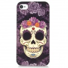 Airwalks Skull w/ Rose Pattern Protective PC Back Case for iPhone 4S - Purple + Black + Beige