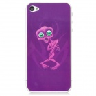 Monster Protective PET Screen + Back Protectors for Iphone 4 / 4S - Purple + Transparent