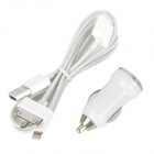 Car Charger + 1-to-3 USB to 30-pin + 8-pin Lightning + Micro USB Charging / Data Cable - White
