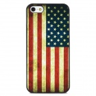Relief Design US National Flag Style Protective Plastic Back Case for Iphone 5 - Red + Blue + Black