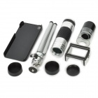 16X Zoom Optical Camera Lens Telescope + 60X~220X Microscope w/ TrIpod for Iphone 5 - Black + Silver