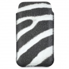 Zebra Pattern Fashion PU Leather Case for iPhone 4 / 4S - Black + White
