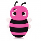 3D Cartoon Bee Style Protective Silicone Case for Iphone 4 / 4S - Deep Pink + Black + White