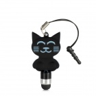KT Cat Style Stylus Pen w/ 3.5mm Anti-Dust Plug for Capacitive Screen / Iphone 5 / 4S - Black