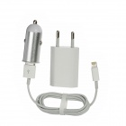 3-in-1 AC/Car Charging Adapter Charger + USB to 8-Pin Lightning Cable for iPhone 5 - White + Silver
