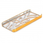 Openwork Flower Pattern Protective Plastic Back Case for iPhone 5 - Golden + Silver