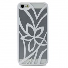 Openwork Flower Pattern Protective Plastic Back Case for iPhone 5 - White